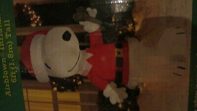 Peanuts Snoopy Santa Suit Gemmy Airblown Inflatable Ringing Bell Holiday Cheer 6