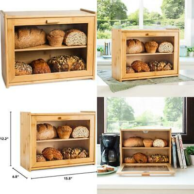 Laura'S Green Kitchen Large Bread Box: Bamboo Bread Box With Clear Front Window