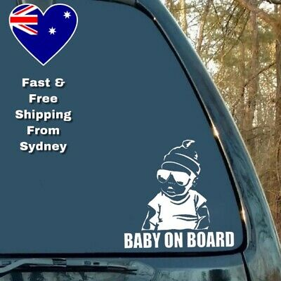 Baby On Board Silver Car Window Sticker Decal Cool Baby Sunglasses Hat Aufkleber