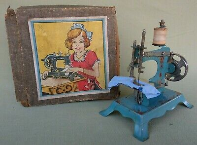 Vintage German Tin Plate Miniature Toy Hand Crank Sewing Machine Original Box