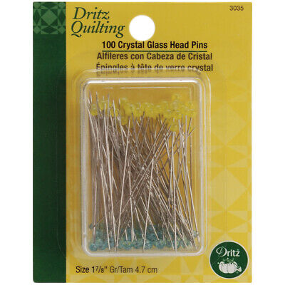 Dritz Quilting Crystal Glass Head Pins 100/Pkg-Size 30