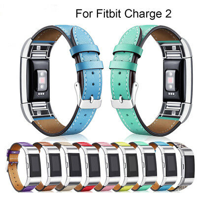 Replacement Soft Genuine Leather Buckle Wristband Strap Band for FitBit Charge 2