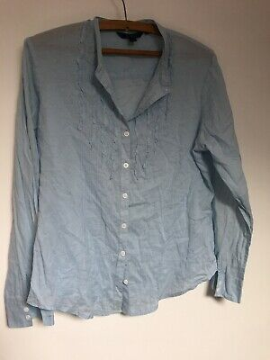 Boden Womens Shirt Blue Size 16 ruffles Button Sleeve Light Weight Cotton