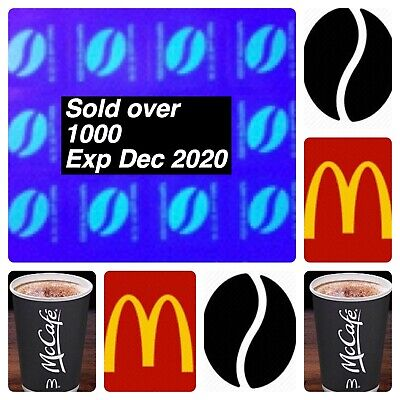 180 McDONALDS COFFEE BEAN STICKERS  LOYALTY VOUCHERS  VALID DEC 2020 ULTRAVIOLET