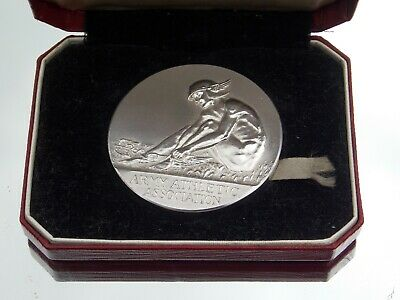 SUPERB ART DECO F Phillips CASED WHITE METAL ARMY INTER UNIT TEAM ATHLETIC MEDAL