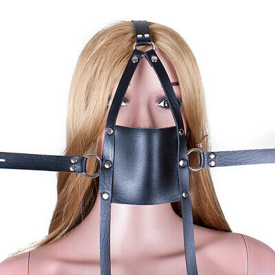 Slave Head Harness PU Leather Mouth Gag Restraint SM Roleplay party headgear