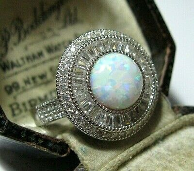 Vintage Style Art Deco Sterling SILVER Gilson Fire Opal Topaz Stone RING R 8.5