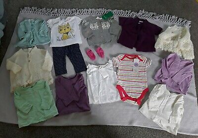 GIRLS NEW H&M Tesco Outfit bundle Leggings Tops Cardigans 0-6 Months Snowman