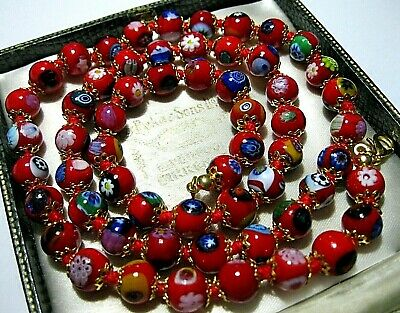 Lovely Red Millefiori Venetian Murano Glass Bead Long Vintage Style NECKLACE