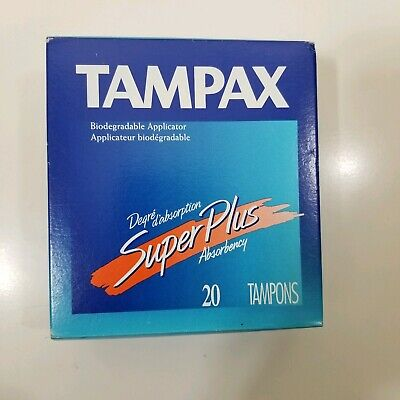Vintage Tampax Tampons Super Plus biodegradable applicator regular 20 1998