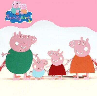 """3-D pop-up Greeting Card with """"Peppa-Pigs Family"""""""