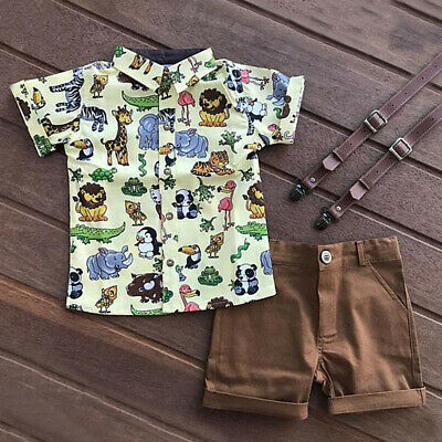Kids Toddler Baby Boy Clothes Set Short Sleeve T-shirts Tops+Short Pants Outfits