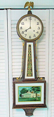 """Antique Large New Haven Banjo Wall Clock Mt Vernon 42"""" Key 8 Day 1/2 Hour Strike"""