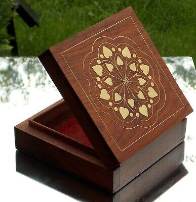 Beautiful Antique Brass Heart Inlay Decoration  Ladies Wooden Jewelly Box