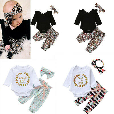 Toddler Kid Baby Boys Girls Letter Romper Bowknot Floral Pants Headbands Outfits