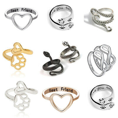 Silver Gold Heart Paw Print Ring Punk Snake Rings Women Mens Best Friends Gifts