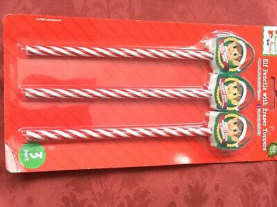 3 Elf Pencils With  Erasers For The Behavin Badly Elf Who Sits On The Shelf