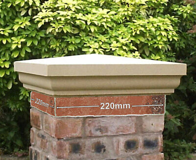 Cast Stone Fluted Pier Caps, Buff / Portland, 13 Sizes Available Wall Capping