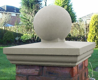 Fluted Pier Cap Cast Stone With Ball Finial, Portland/Buff, 4 Sizes Available