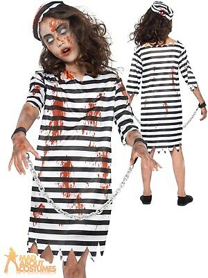 Kids Boys Bloodied Escaped Zombie Prison Convict Halloween Costume Jailhouse SFX