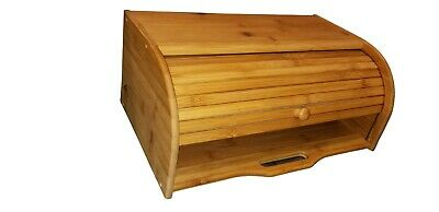 Natural Wooden Roll Top Bread Box Kitchen Bamboo Storage Bin Standard Size