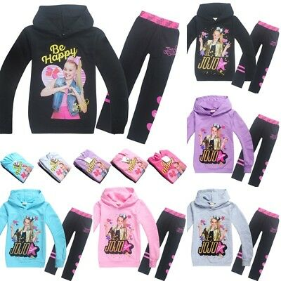 Jojo Siwa Girls Hooded Hoodie Sweatshirt Pants Set Tracksuit Outwear Outfit Coat