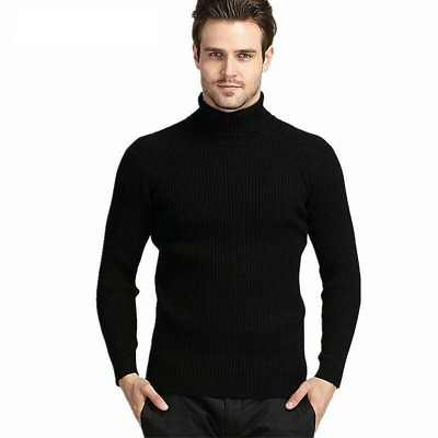 Men Turtleneck Sweater Winter Thick Warm Cashmere Slim Wool Knitwear Pullover