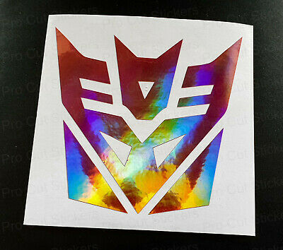 Transformers Decepticon Pink Rose Gold Neo Hologram Chrome Wall Stickers Decals