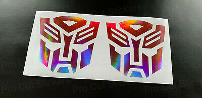 Transformers Autobot x2 Pink Rose Gold Neo Hologram Chrome Car Wall Art Stickers