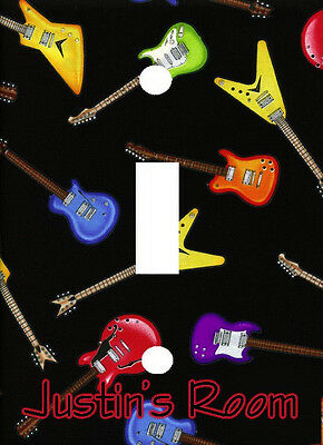 PERSONALIZED COLORFUL ELECTRIC ROCK GUITARS LIGHT SWITCH PLATE COVER