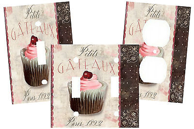 Vintage French Pink Cupcake Pairs Kitchen Light Switch Plate Cover Home Decor