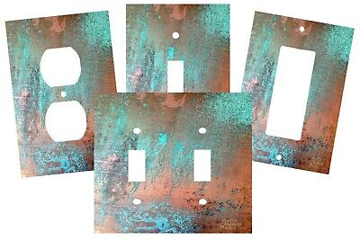 Copper Patina Turquoise Design Look  Light Switch Plate Cover Wall Decor