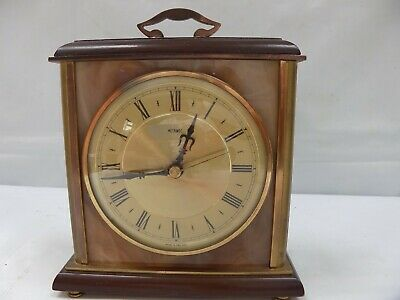 Vintage METAMEC Brass Marble Wood Mantel Carriage desk Clock Parts or Repair