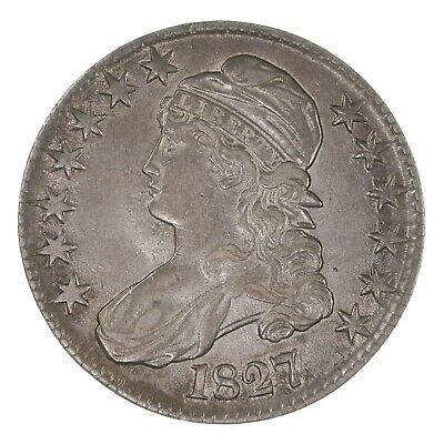 Raw 1827 Capped Bust 50C Square Base 2 US Mint Silver Half Dollar Coin