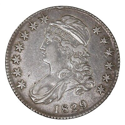 Raw 1829 Capped Bust 50C Uncertified Ungraded Early US Silver Half Dollar Coin