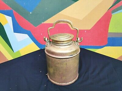Old Early Beautiful Heavy Brass Unused Milk/Oil/Ghee/Water Canister With Handle