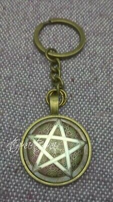 Grey Celtic Pentagram Glass Dome Pendant Bronze Colour Key Ring