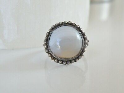 Vintage Silver Chinese Import Export Two Tone Striped Jade Old Adjustable Ring
