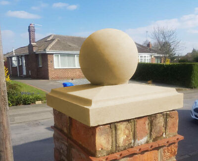 Cast Stone Chamfered Pier Cap With Ball Finial - 2 Sizes, Portland/Buff
