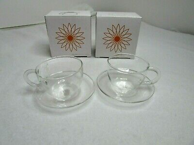 2 x Teaposy Soul Mates 3 oz Small Glass Cup + Saucer Teacup