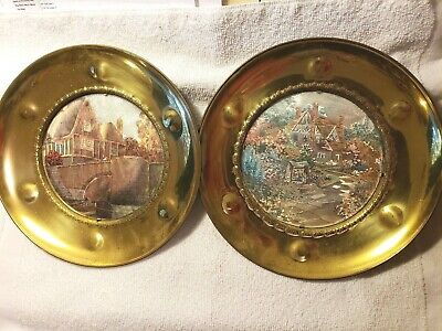 "Vintage Solid Brass Foil Art Made In England Wall Hanging Picture 10"" Plates"