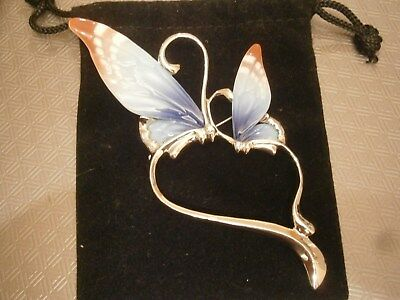 Franz Porcelain Hand painted Heart Butterfly Brooch Rhodium plated FJ00008