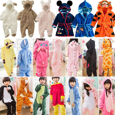Baby Kids Boy Animal Pajamas Romper Kigurumi Cosplay Costume Bathrobe Sleepwear