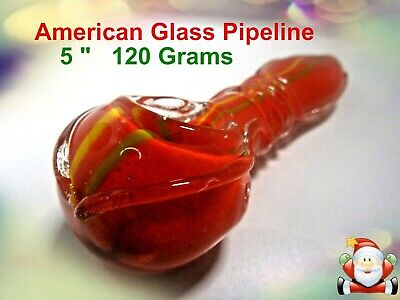 "Beautiful Hand Crafted Thick Pyrex Glass  5"" Hand Pipe  120 grams"