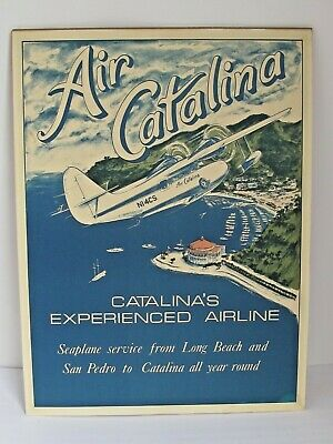 Vintage Air Catalina Island Avalon Bay Long Beach Travel Poster