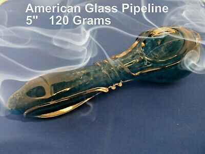 "Medium Blue Hand Crafted Pyrex Glass  5"" Hand Pipe  120 grams"