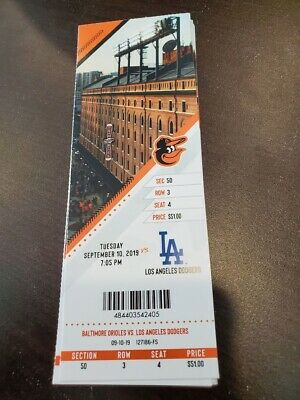 Gavin Lux 1st MLB HR 1 - Orioles LA Dodgers MINT Season Ticket 9/10/19 2019 Stub