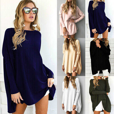 Womens Sweatshirt Baggy Blouse Jumper Long Sleeve Loose Ladies Oversized Tee Top