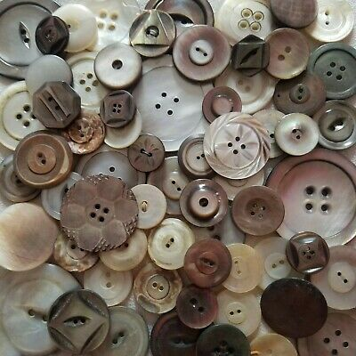 Vintage Victorian Antique Abalone Mop Mother Of Pearl Shell Button Lot Carved