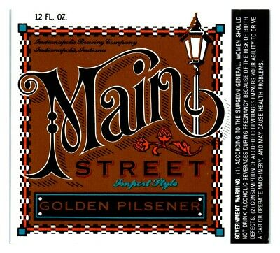 Main Street Golden Pilsener, Indianapolis Brewing Co. Beer Label *L7